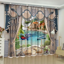 Creative 3D Scenery Print Blackout Decorative Curtains Backdrop for Living Room Bedroom