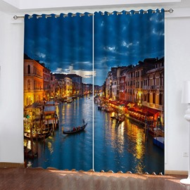 3D Fantastic Venice Night View Print Blackout Curtains 200g/m² Polyester 70% Shading Rate and UV Rays Environmentally Friendly Printing and Dyeing No use of Chemical Auxiliary