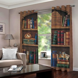 Vintage Blackout 3D Bookcase Print Blackout Polyester Curtains No Pilling No Fading No off-lining 80W 84L Inches