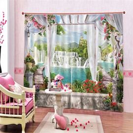Blackout Creative Window Curtains 3D Scenery Print 260 Gram Weight for Better Shading Effect and Water-Repellent Fabrics Non-PVC
