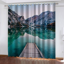 3D Lake Scenery Blackout Window Curtains for Living Room Bedroom No Pilling No Fading No off-lining Blocks Out 80% of Light and 90% of UV Ray
