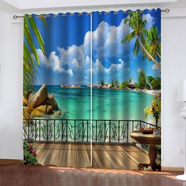 3D Seaside Scenery Decoration Blackout Window Curtains for Living Room Bedroom No Pilling No Fading No off-lining Blocks Out 80% of Light and 90% of UV Ray