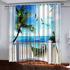 3D Seaside Scenery Blackout Living Room Bedroom Curtains No Pilling No Fading No off-lining Machine Washable