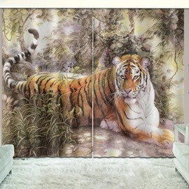 Modern 3D Tiger Blackout 2 Panels Window Curtains for Living Room Bedroom No Pilling No Fading No off-lining Blocks Out 80% of Light and 90% of UV Ray