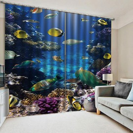 Colorful Tropical Fish Sea Printed Blackout Window Curtains for Living Room No Pilling No Fading No off-lining Drapes Blocks Out 80% of Light and 90% of UV Ray