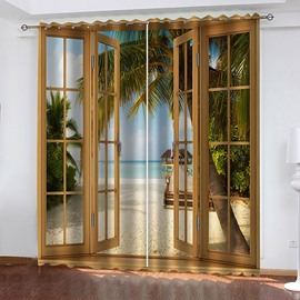 3D Beach Scenery Out of The Window Printed Blackout Curtains for Living Room Custom 2 Panels Drapes No Pilling No Fading No off-lining