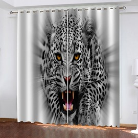 3D Ferocious Panther Decoration Blackout Window Curtains for Living Room Custom 2 Panels Drapes No Pilling No Fading No off-lining