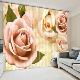 3D Roses Printed Blackout Decorative Window Curtains Custom 2 Panels Drapes No Pilling No Fading No off-lining