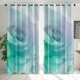 3D Modern Green Floral Printed Blackout Decoration 2 Panels Curtain Drapes for Living Room No Pilling No Fading No off-lining