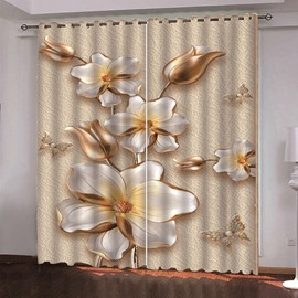 3D Vintage Floral Decoration Curtains Custom 2 Panels 98% Blackout Drapes No Pilling No Fading No off-lining
