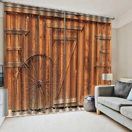 3D Print Wood Door Window Curtains Creative Yellow Polyester Blackout Custom 2 Panels Drapes for Living Room Bedroom No Pilling No Fading No off-lining