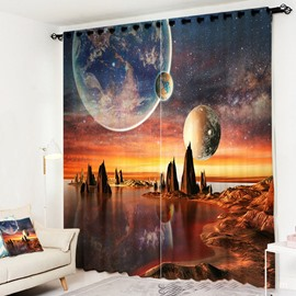 3D Modern Creative Cosmic Landscape Curtain Polyester Blackout Custom 2 Panels Drapes for Living Room Bedroom No Pilling No Fading No off-lining