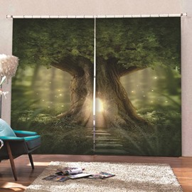 3D Print Window Curtain Creative Tree Pattern Polyester Blackout Custom 2 Panels Drapes for Living Room Bedroom No Pilling No Fading No off-lining