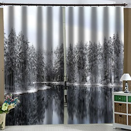 Modern 3D Snow Landscape Blackout Curtain Custom 2 Panels Drapes for Living Room Bedroom No Pilling No Fading No off-lining