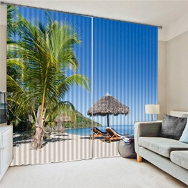 Blue 3D Printed Coastal Landscape Blackout Curtains Modern Charming Scenery Custom 2 Panels Polyester Drapes for Living Room Bedroom No Pilling No Fading No off-lining