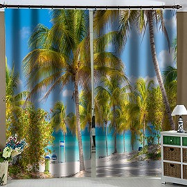 3D Sea Landscape Coconut Tree Blackout Curtains Modern Charming Scenery Custom 2 Panels Polyester Drapes for Living Room Bedroom No Pilling No Fading No off-lining