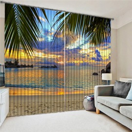 Modern 3D Printed Sea Landscape Blackout Curtains Custom 2 Panels Polyester Drapes for Living Room Bedroom No Pilling No Fading No off-lining