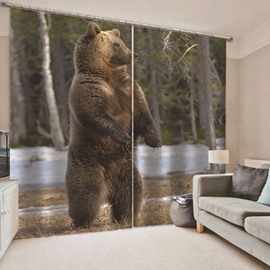 Modern Creative 3D Printed Standing Bear Blackout Curtains Custom 2 Panels Drapes for Living Room Bedroom No Pilling No Fading No off-lining Heat insulation Sun Protection Waterproof Polyester