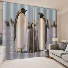 Modern 3D Printed Penguins Blackout Curtains Custom 2 Panels Drapes for Living Room Bedroom No Pilling No Fading No off-lining Heat insulation Sun Protection Waterproof Polyester