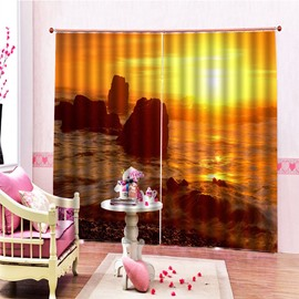 3D Printed Sea and Sunset Blackout Curtains Charming View Custom 2 Panels Drapes for Living Room Bedroom No Pilling No Fading No off-lining Polyester