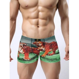 Lifelike 3D Print Tiger Pattern Style Comfortable Cotton Man Briefs