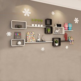 White Concise 2-Set Wood Wall Shelves with Free Wall Stickers