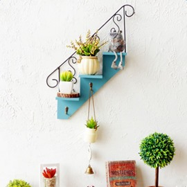 Creative Simple Style Blue Stair Shape Home Decorative Wall Shelves