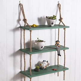Simple Country Style Wood and Hemp Rope Home Decorative Wall Shelves