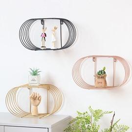 Oval Shape Design Iron Shelf Sitting Room Bedroom Wall Decoration Storage Holders & Racks
