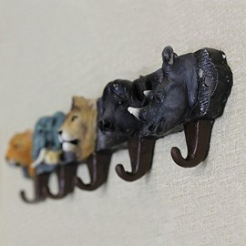 Creative and Lovely Stylish Big Five animal Pattern Coat Wall Hook