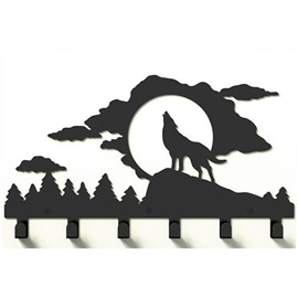 Stylish and Simple Style Cool Frost Wolf Image Coat Hook