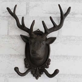 Fancy Vintage Deer's Head Shape Iron Double Hooks