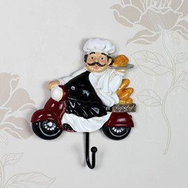 Wonderful and Creative Resin Chef On Motorcycle Wall Hook Decoration