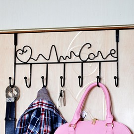 Creative Ironwork Love Over The Door 7 Hook Organizer Rack