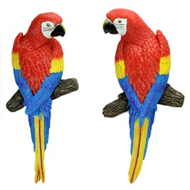 Lovely and Decorative Resin Red Parrot Wall Art Hook Decoration