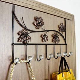 Wonderful Iron Artwork Leaves Pattern 7-Head Door Back Hooks