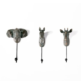 Amusing European Style Resin Animal Head Shape 3 Pieces Wall Hooks