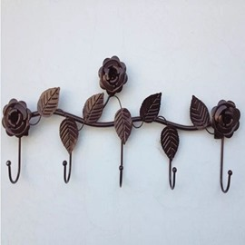 Elegant Iron Handmade Roses Pattern Home Decorative Wall Hooks