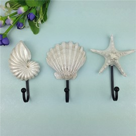 Amazing Simple Style Starfish and Seashell Shape Decorative Wall Hooks