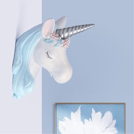 9.8*9.4*13.8in Unicorn Head Environment Friendly Resin Material Kids Room Wall Decor