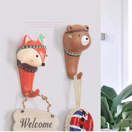 Cute Animals Shape Environment Friendly Resin 6 Pattern Decorative Wall Hooks