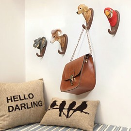 Cute Animals Design Environment Friendly Resin 7 Pattern Decorative Wall Hooks