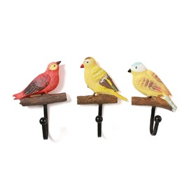 3 Colors Delicate Birds Design 1-Set Resin Wall Hooks