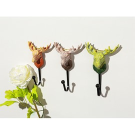 Lucky Deer Heads Resin Handicraft Home Decoration Hook Coat Hat Hook