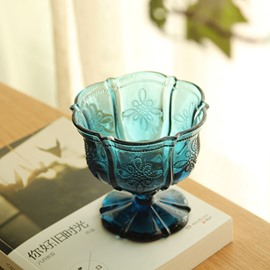Hot Sale Blue Flower Ice Cream Goblet Glasses Cup