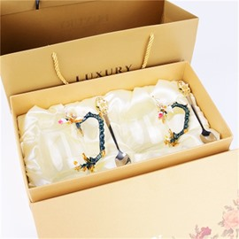 Creative and Concise Style Apricot flowers Pattern Retro Transparent Enamels Birthday Gift Office Cup Sets