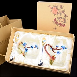 Beautiful Blue Peach Flowers Transparent Enamels Birthday Gift Office Cup Sets