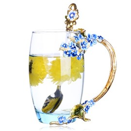 Modern and Concise High Grade Crystal Enamel Blue Flowers Coffee Cup