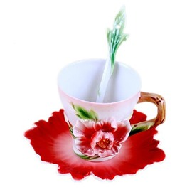 New Arrival Beautiful Peony Flower Design Exquisite Porcelain Coffee Cup Sets