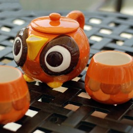 The owl Hand-Painted Porcelain Tea Set